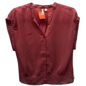 Frenchi Cap Sleeve Button Down Blouse, Size M
